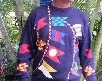 Mens Real Clothes Saks Classic Nautical Navy & Pennant Flags Vintage Cotton Sweater, size M, made in France