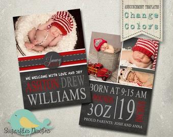 Baby Announcement PHOTOSHOP TEMPLATE - Baby Boy Chalk