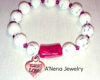 "Women's Bracelet: 'Genuine White Resin,Genuine Red Coral and Swarovski Elements, with Copper Charm   ""True Love"""