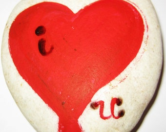 Valentine Rock Paper Weight, I Love U, Gifts for him or her, Hand Painted with Love