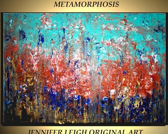Original Large Abstract Painting Modern Contemporary Canvas Art Turquoise Rust Gold METAMORPHOSIS 36x24 Palette Knife Texture Oil J.LEIGH