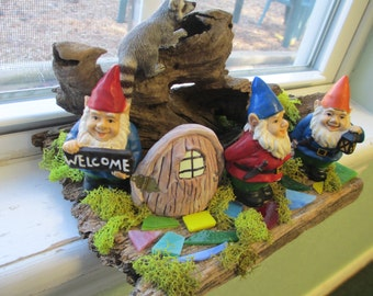 Welcome Gnomes Home on old barnwood slat.OOAK  diorama on window sill 3 gnomes and raccoon