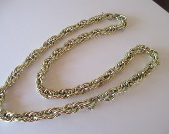 Vintage Chain Necklace slip on gold toned links 25 inch