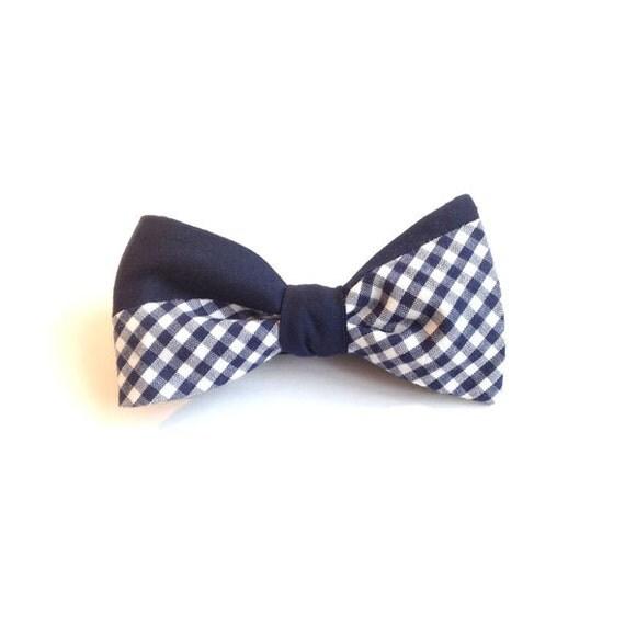 Men's bow tie, Navy Micro Gingham Cotton Self Bow Tie