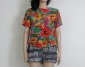 floral silk watercolor vintage blouse s / m