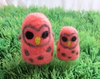 Pink Owl Duo Mini Soft Felt Animal