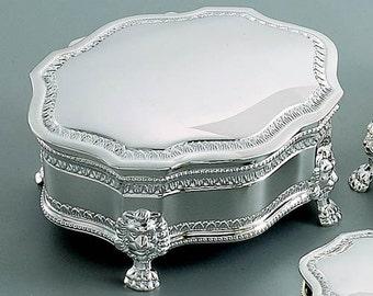 Silver Tone Finish Monogrammed Keepsake Victorian Style Jewelry Box