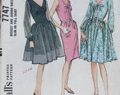 1965 Uncut Sewing Pattern McCalls 7747 Day or Evening Dress with V Neckline and Full or Slim skirt Size 12 Bust 32