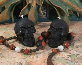 3 Black Skull Beeswax Candles