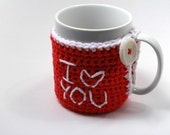 "Red and White ""I Love You"" Crocheted Mug Cozy with Recycled Plastic Button - Valentines Day Gift - TrendyEarth"