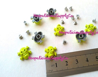 8 Metal Skull Screw Back Studs-Backs INCL.You CHOOSE COLOR.Brass.Hot Pink.Neon Green.Neon Yellow.Purple.Neon Orange.Gold. Silver.Gun Metal.