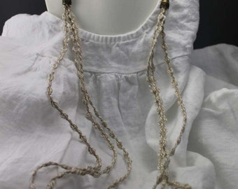 Linen and Cotton necklace, long, with antique bronze color lock and elements, gifts to her, organic, rustic, minimalist