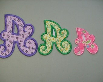 """Chunky Curly Font or  Alphabet Letter (3"""" tall) iron on or sew on applique"""