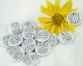 20 Wedding Party Buttons or Magnets, 1""