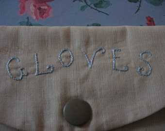 Vintage Gloves Case C 1920's Handmade Hand Embroidered Ladies Vanity Table or Travel Accessory