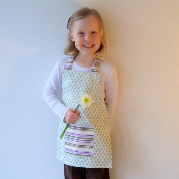Kid's Apron, Montessori Apron, Modern Sage Green Tree Motif, Lavender Stripe, Fits 3-7