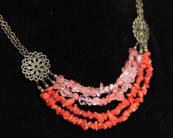 Handmade Choker necklace with Coral, Quartz and Antiqued Brass Filigree medallions