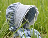 Chambray Baby Bonnet, looks like denim but lighter weight, summer bonnet, sizes 0-3 up to 3-8 years