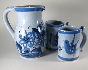 Vintage Ceramic Pitcher and Cups Mexico SALE