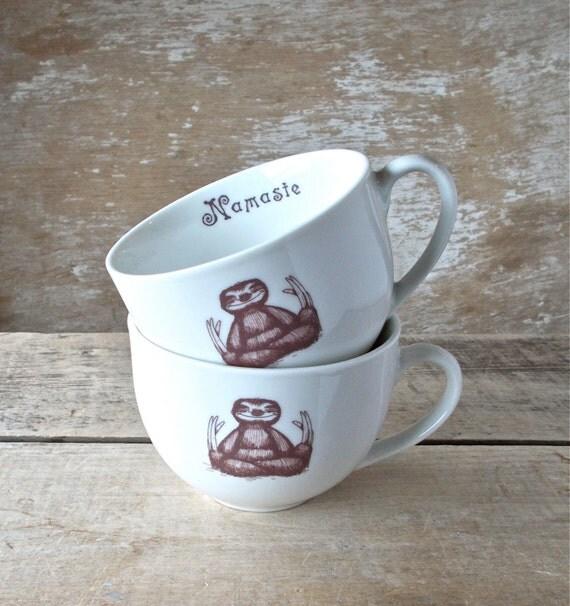Pair of Baby Sloth Namaste Mugs, 8 oz Small Mugs, Short Sized Coffee Cups, Ready to Ship