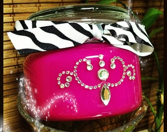 15 oz, TRIPLE scented candle with rhinestones and ribbon