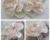 Wrist Corsage Ivory and Champagne Romantic Rose Pearl  Cuff Bracelet Bridesmaid Mother Bridal Shower Prom with Pearl Rhinestone Accents.