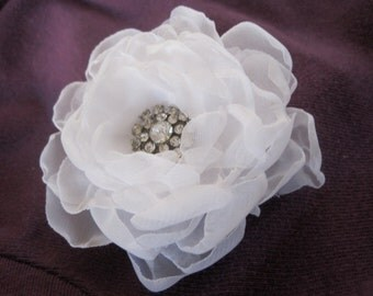 Elegant White Chiffon Wedding Flower Hair Clip, Bride, Bridesmaid, Mother of the Bride with Gorgeous Rhinestone Accent