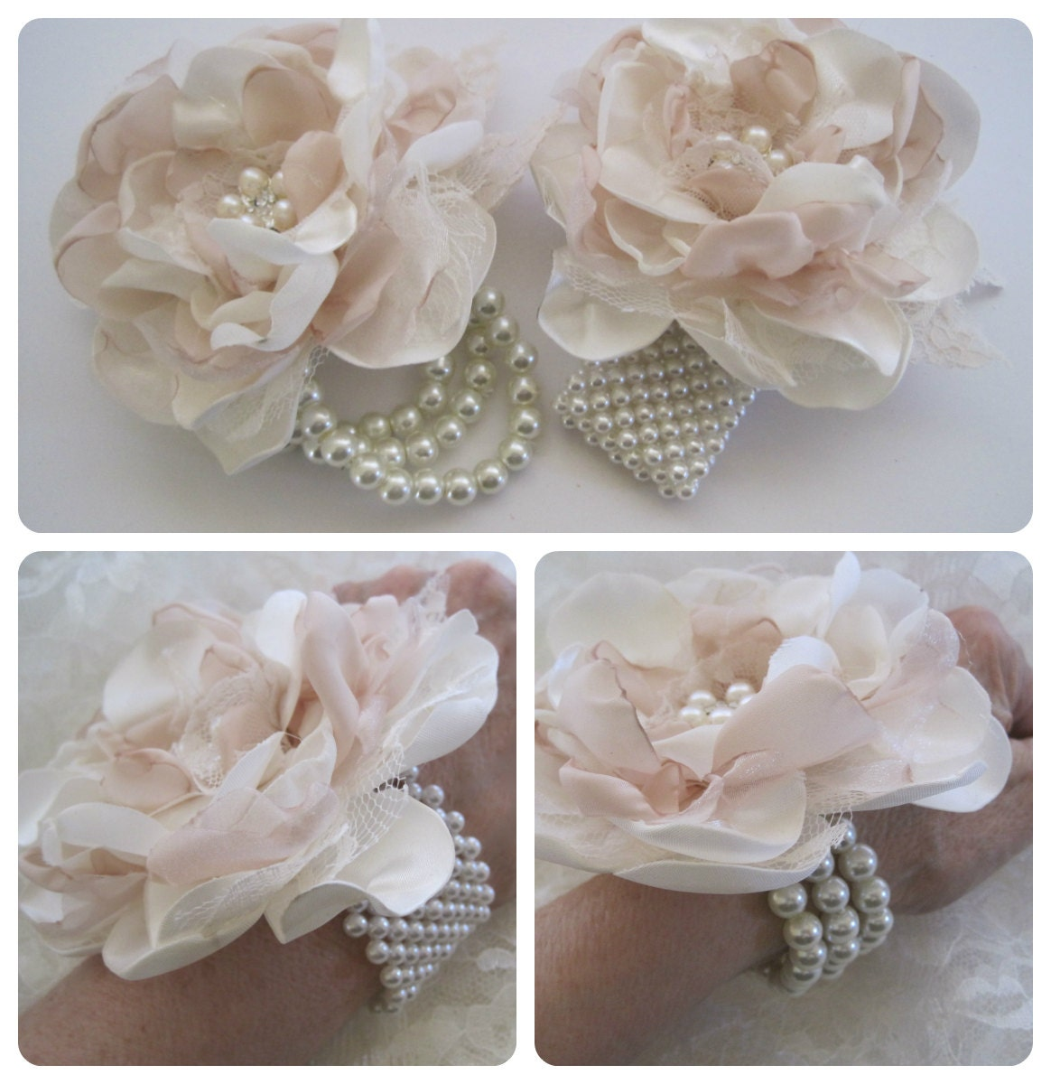 Wrist Corsage Ivory And Champagne Romantic Rose Pearl Cuff