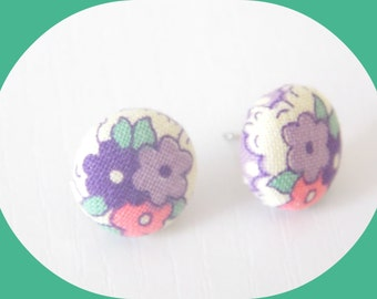 Button Earrings - Fabric Earrings - Heather Ross Fabric - Nursery Versery Fabric