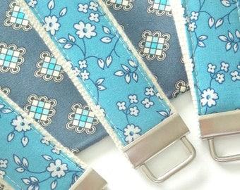 Blue Floral Key Fob - 1.25 in Cotton Webbing Key Fob