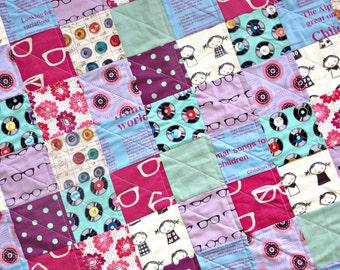 Modern Baby Quilt - Gender Neutral Crib Quilt - Echino Fabrics
