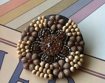 Vintage Wood Beaded Flower Floral Amber Rhinestone Brooch Pin