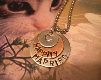Jewelry, Necklaces, Monogram & Name, Hand Stamped Metal, Love, Marriage, Heart - N07