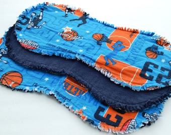 Baby boy burp cloth set of 3 : Flannel / Contoured / Baby burp cloths / Burpcloths / Burprags / basketball