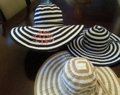 Stripped Floppy Beach Hat Includes Monogram Free Shipping