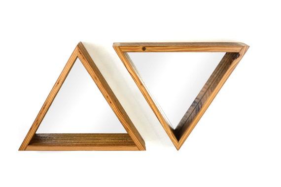 triangular mirror barn wood frame hanging mirror reclaimed wood decor rustic modern
