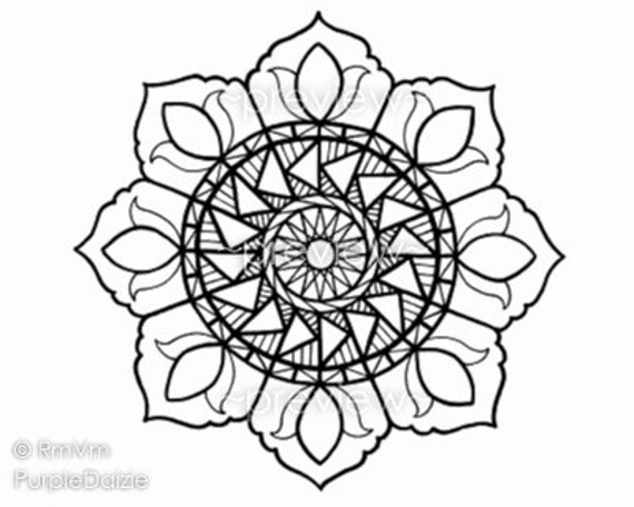 Flower Mandala Drawing Items Similar To 4 Printable