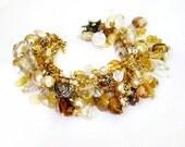 Gold beaded charm bracelet handmade