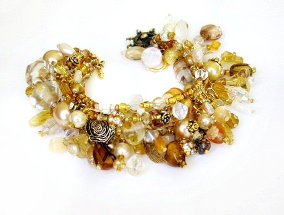Gold beaded charm bracelet handmade