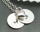 Personalized necklace, Two initials, custom letters, floating heart necklace, valentines day gift, couples, best friends, sisters