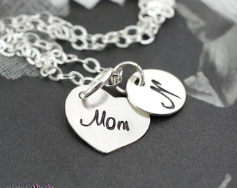 Silver monogram Mom necklace, Mothers jewelry, Gifts for mom, Hand stamped, Mother of bride, Personalized