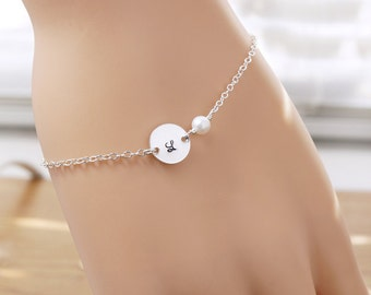 Bridesmaids bracelets, SET of 6, Initial bracelet, Bridesmaid gift, Sterling silver, Monogram letter, Personalized bracelets