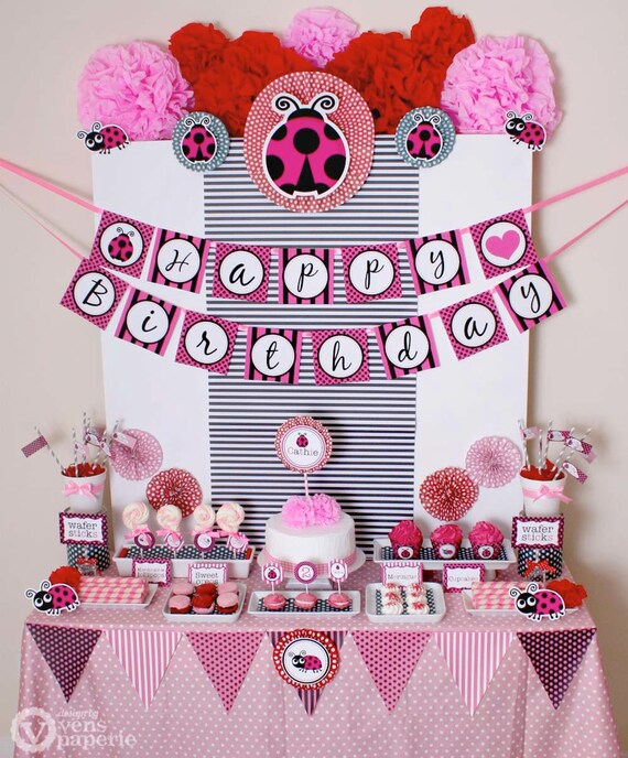 Pink lady bug birthday party package personalized full for 1st birthday decoration packages