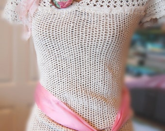 SALEUpcycled ClothingCrocheted Sweater Tunic Hippie Natural  Short Sleeved Shabby Chic WomensAltered Couture Pink Roses Small BoHo Cowgirl