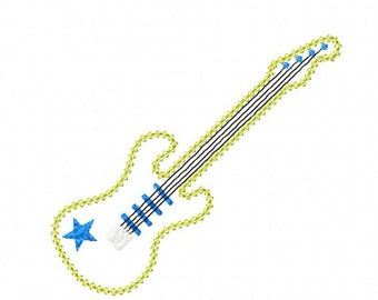 INSTANT DOWNLOAD Vintage stitch Guitar Machine Embroidery Applique Design