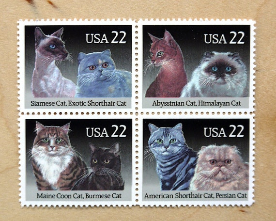 Cat Bird - Vintage unused postage stamps to post 5 letters - or use in scrapbooking and crafts