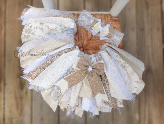Fabric Tutu Cream And Sugar Vintage Lace Burlap By