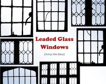 Leaded Window Outlines, Clip Art Set, Digital Clipart, Digital scrapbooking, card making, invitations, tag, label