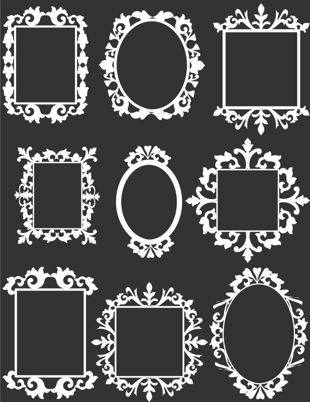 9 White Decorative Frame Clip Art Set Digital clipart for