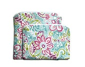 Reusable snack bags, set of 2 pink blue floral zipper closure small wet bag wipeable